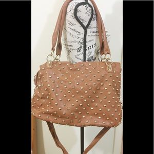 Metal dotted camel colored purse